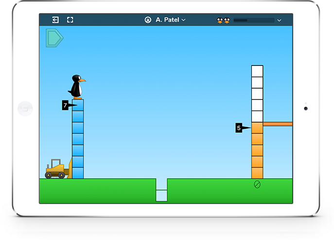 Tablet showing sample screen of ST Math game demo