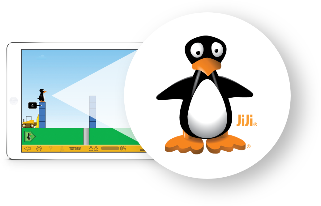 Tablet zooming into JiJi, the character from ST Math's games for ST Math Early Learning