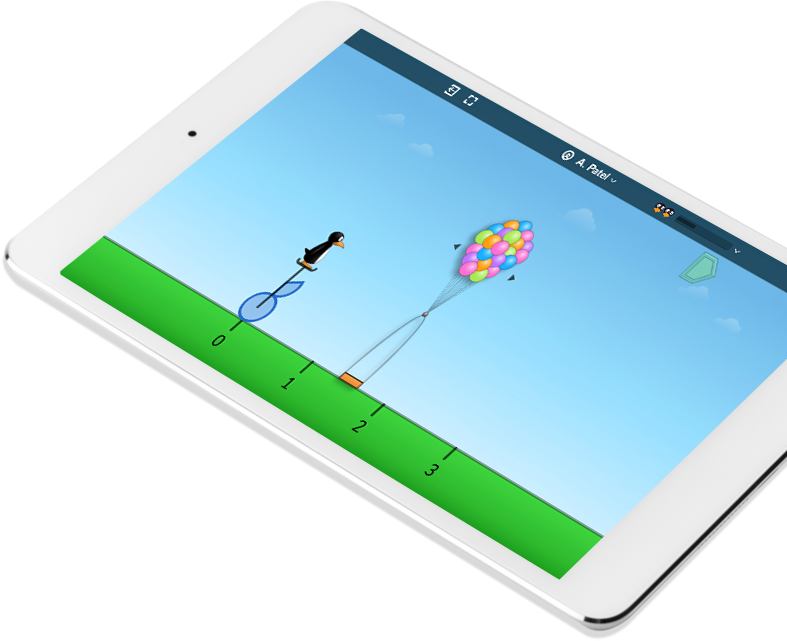 Tablet with an example of the ST Math Visual Math Program iPad app